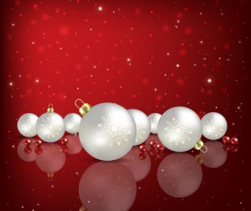 Red background with white Christmas decorations vector