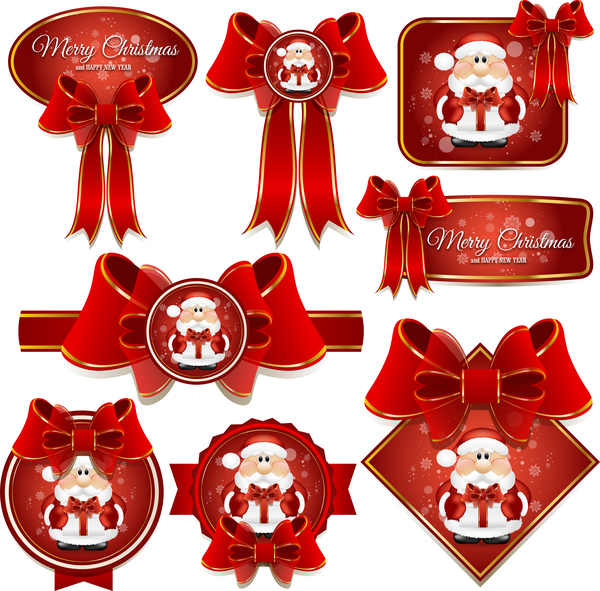 Red bows with red christmas labels vector set