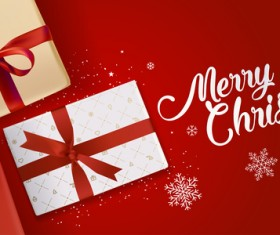 Red christmas background with gift boxs vector material 01