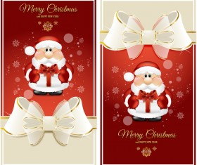 Red christmas card with beautiful bows vector