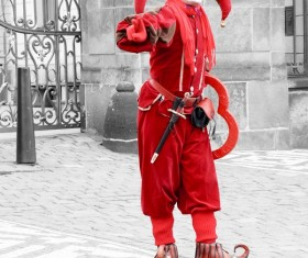 Red clown on the square Stock Photo