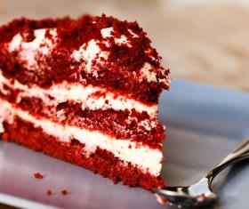 Red cream layer cake Stock Photo