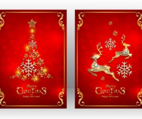 Red new year with christmas card template vector