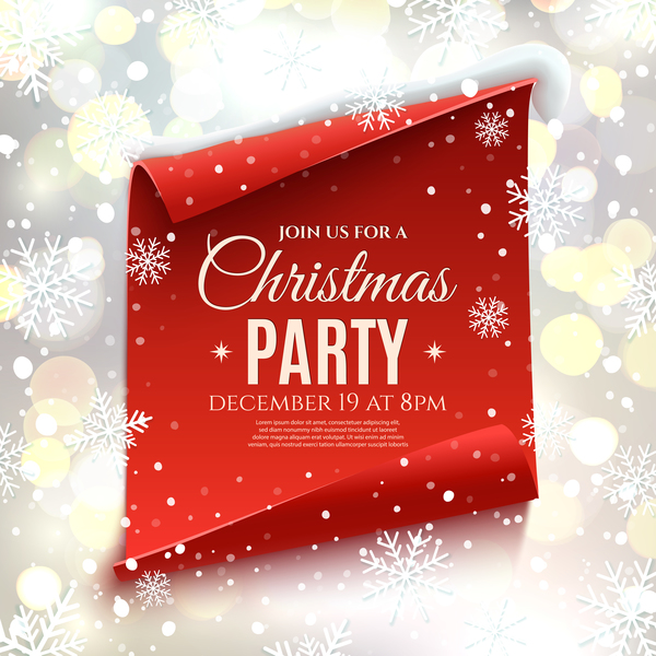 Red paper banner with christmas party poster vector 01