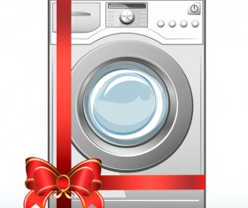 Red ribbon with washing machine vector