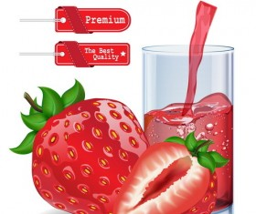 Red tag with strawberry juice design vector