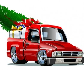 Red truck with christmas gift vector material 01