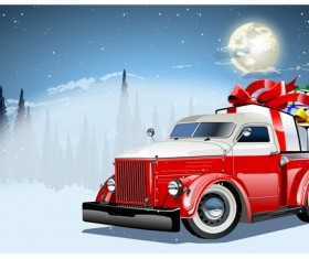 Red truck with christmas gift vector material 02