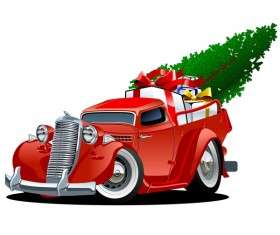 Red truck with christmas gift vector material 03