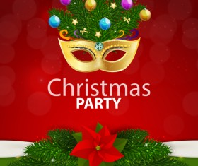 Red with green christmas party poster vector template