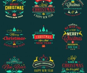 Retor christmas labels design set vector
