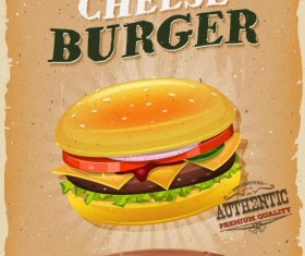 Retro cheese burger poster vector material