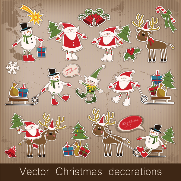 Retro christmas sticker with labels vectors 01