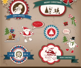Retro christmas sticker with labels vectors 02