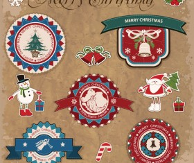 Retro christmas sticker with labels vectors 03