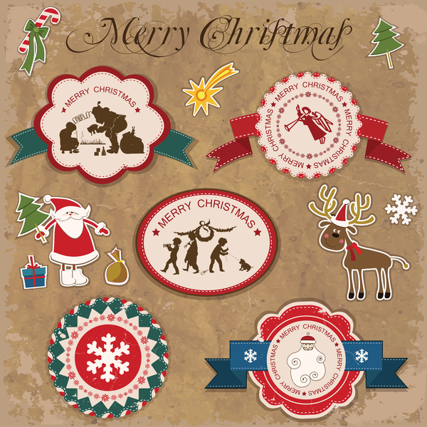 Retro christmas sticker with labels vectors 04