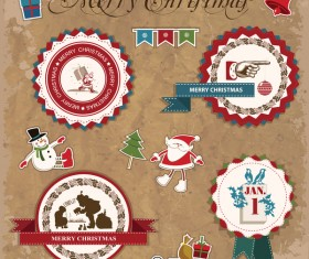 Retro christmas sticker with labels vectors 05