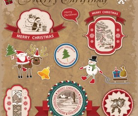 Retro christmas sticker with labels vectors 06