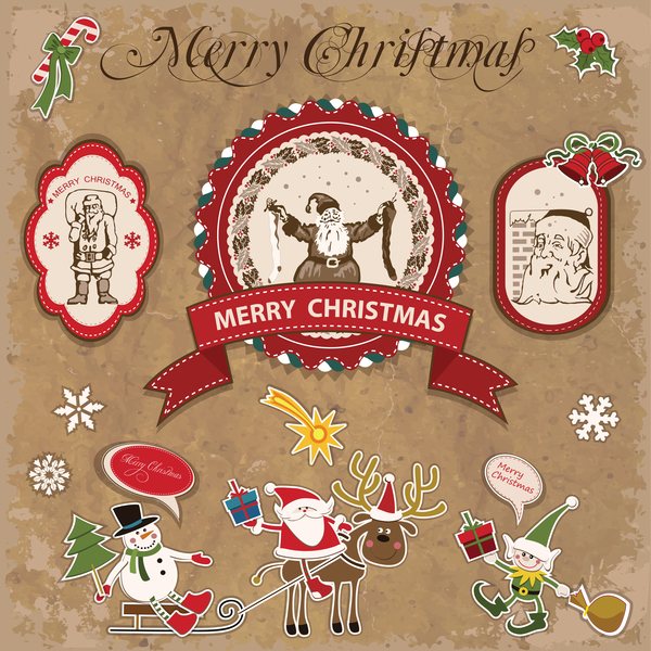 Retro christmas sticker with labels vectors 07