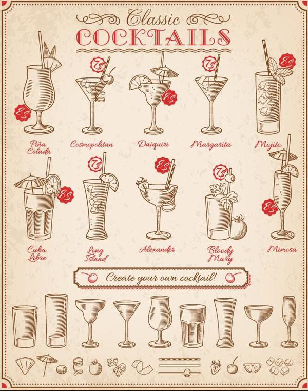 Retro cocktails menu hand drawn vector