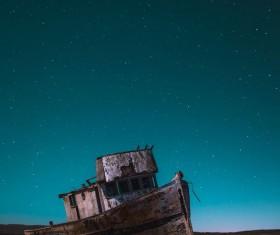 Reyes sunken ship under the night sky Stock Photo