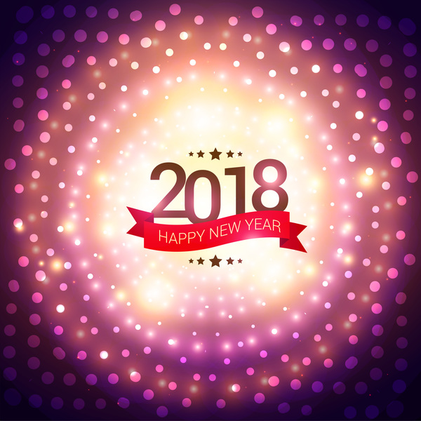Ribbon banner with 2018 new year vector background