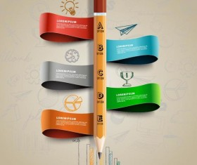 Ribbon with pencil infographic vector