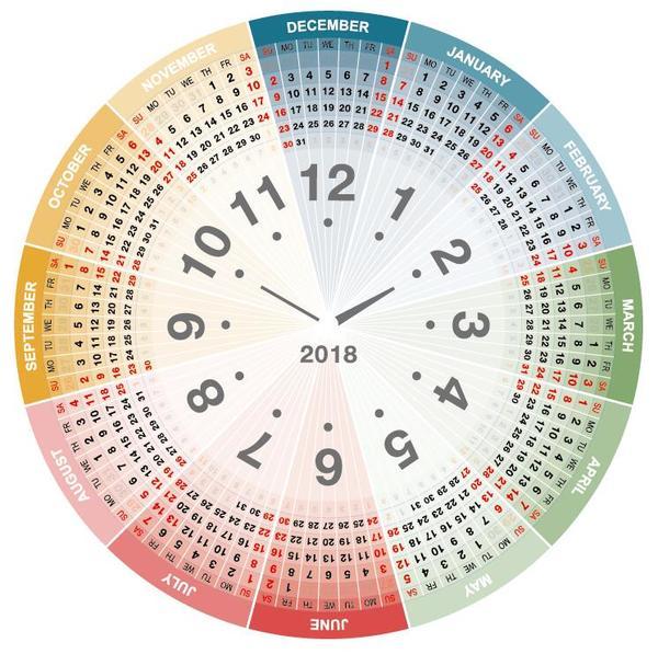 Round Calendar Design : Round color calendar template vector