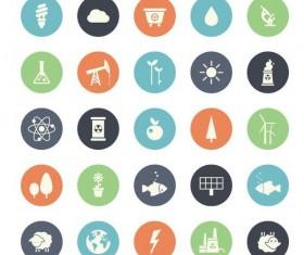 Round ecology icons set