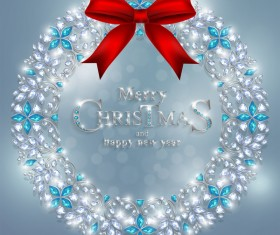 Round jewelry christmas with new year decoration vector