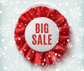 Round sale badge with snow background vector