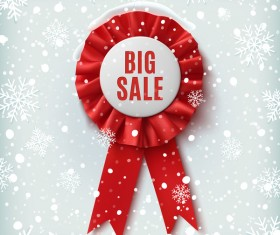 Sale badge with chrismtas snow background vector