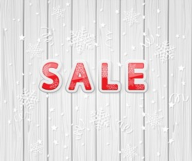 Sale on wooden background vector material