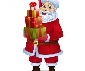 Santa claus and christmas gift boxs vector 01