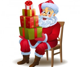 Santa claus and christmas gift boxs vector 02
