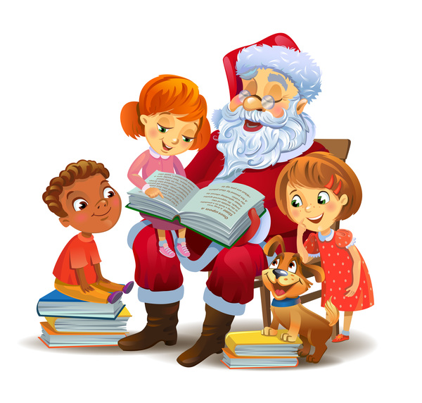 santa claus with kids and book vector - Santa Claus With Kids