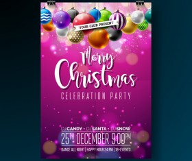 Set of christmas music party flyer with poster template vector 01