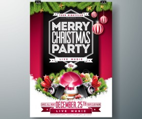 Set of christmas music party flyer with poster template vector 02
