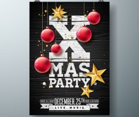 Set of christmas music party flyer with poster template vector 03