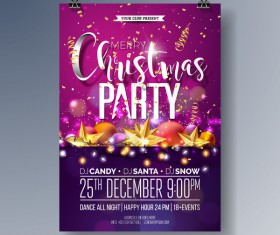 Set of christmas music party flyer with poster template vector 04