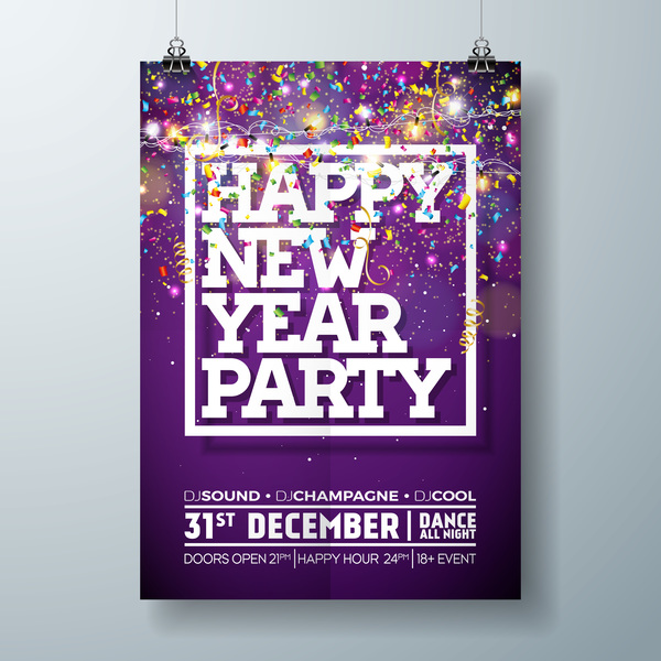 Set of christmas music party flyer with poster template vector 11
