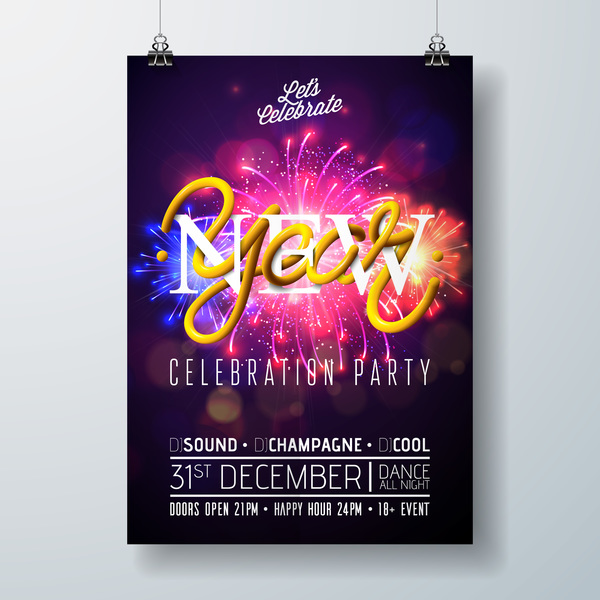 Set of christmas music party flyer with poster template vector 13