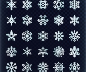 Set of christmas snowflake illustration vector 03