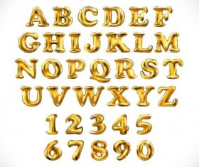 Shining golden alphabet and number vector