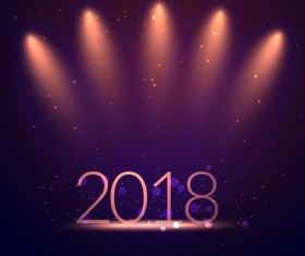 Shiny 2018 new year background vector design