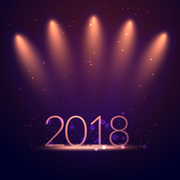 dark blue 2018 new year background vectors