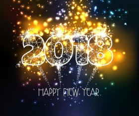 Shiny firework 2018 new year background vector