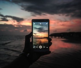 Shooting natural scenery smartphone Stock Photo