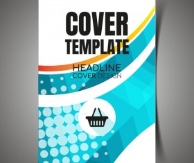 Shopping flyer with brochure cover template vector 07