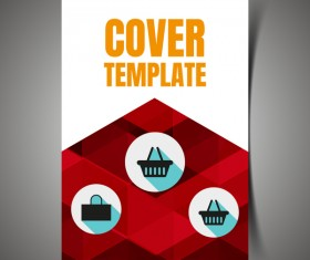 Shopping flyer with brochure cover template vector 08